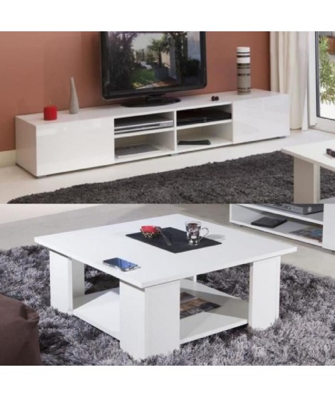 LIME Salon complet coloris blanc brillant 2 pieces 1 meuble TV 185cm + 1 table basse carrée