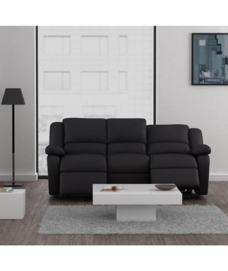 RELAX Canapé relaxation simili 3 places -192x92x93 cm -Noir