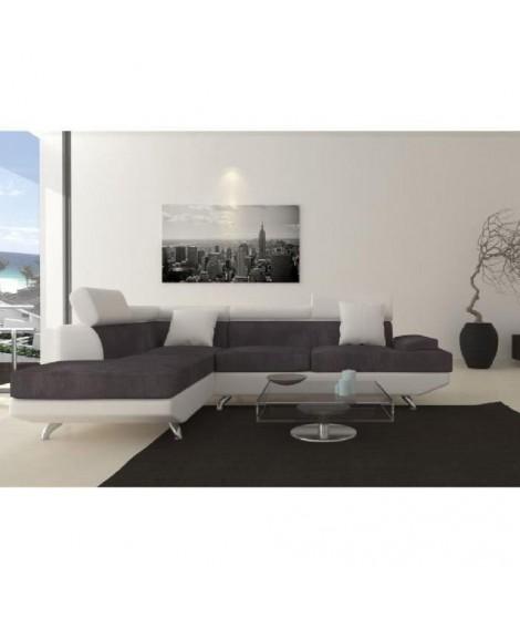 SCOOP XL Canapé angle gauche 4 places simili et microfibre gris blanc