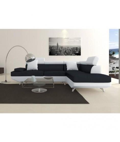 SCOOP XL Canapé d'angle droit simili et microfibre 4 places - 259x182x80 cm - Noir et blanc