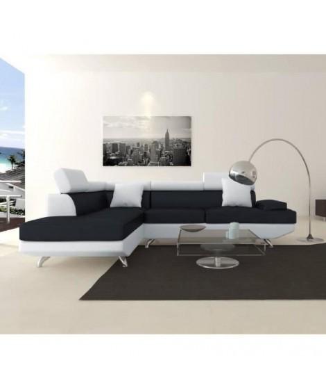 SCOOP XL Canapé d'angle gauche simili et microfibre 4 places - 259x182x80 cm - Noir et blanc