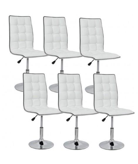 LEAF Lot de 6 chaises de salle a manger blanches