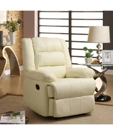 VOLUPTO Fauteuil de relaxation ivoire - Grand confort