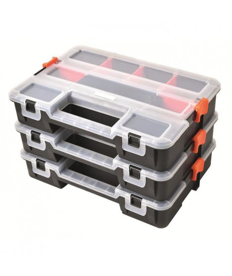 TOOD Lot de 3 mallettes clipsables en plastique 31,5x22,5x19,8 cm