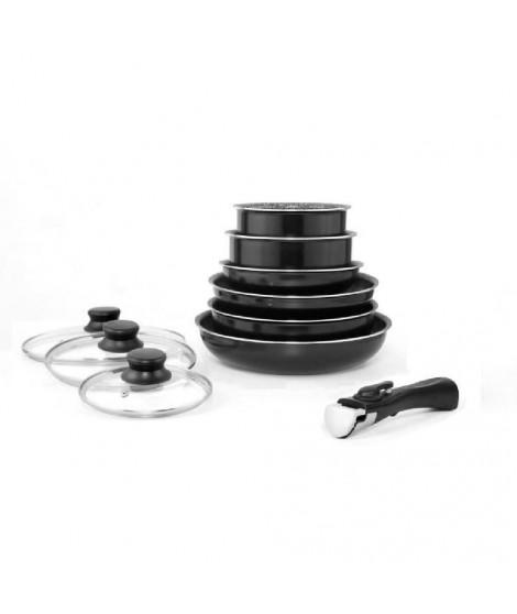 ARTHUR MARTIN Set de batterie de cuisine 10 pieces en aluminium 16/20/24/28 cm noir