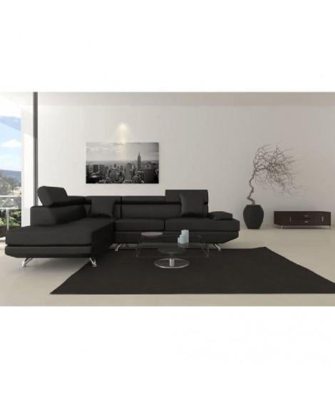 SCOOP XL Canapé d'angle gauche simili 4 places - 259x182x80 cm - Noir