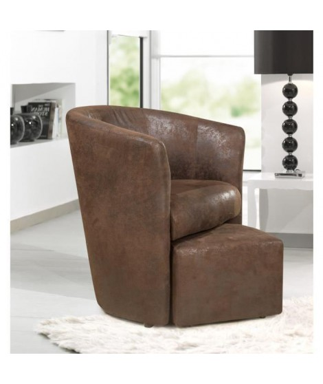 BAYA fauteuil cabriolet et pouf marron aspect vielli