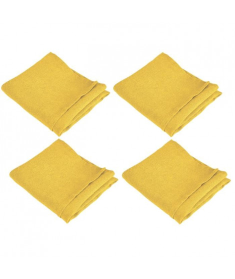 VENT DU SUD Lot de 4 serviettes de table SYMPHONIE 100% lin 50x50 cm safran