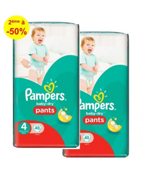 Pampers BabyDry Pants T4 8 a 15kg, 2x40, 80 couches