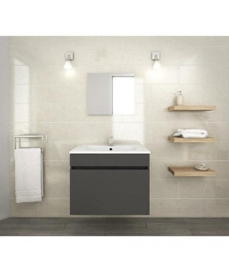 LANA Ensemble de meubles de salle de bain : vasque + miroir + meuble sous-vasque 60 cm - Gris mat
