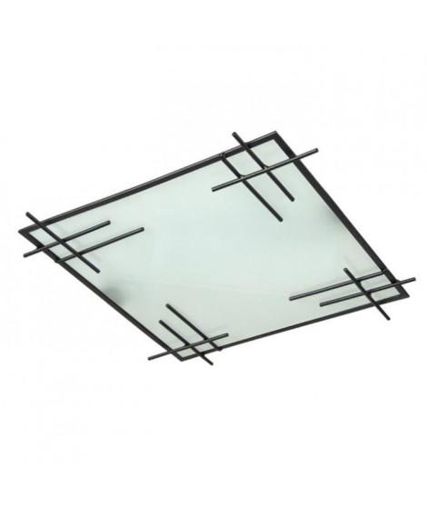 TOKYO Plafonnier Fil acier verre mate 35x35x7 cm Noir