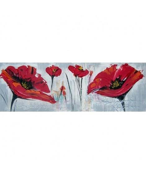 Toile peinte Floral 30x90 cm rouge