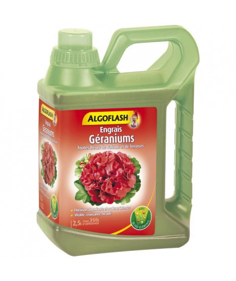 ALGOFLASH Engrais géraniums et Toutes fleurs de Balcons - 2,5L
