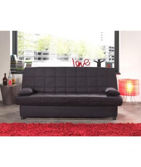 STARO Banquette clic-clac convertible lit 3 places tissu uni noir