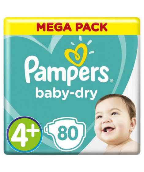 PAMPERS Baby-Dry Taille 4+ 9-18 kg x80 couches