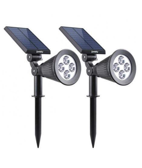 LUMISKY Pack de 2 Spots solaires extérieur étanches - 4 LEDs - 200 Lm - Tete pivotante a 90°C