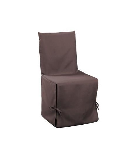 DOUCEUR d'INTERIEUR Housse de chaise unie a nouettes 50x50x50 cm Essentiel brun
