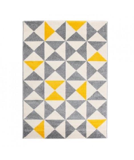 Tapis Forsa 80x150 cm jaune, anthracite et creme