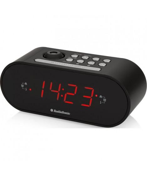 AUDIOSONIC CL-1496 Radio Réveil Projecteur - Réglage de la luminosité - Noir