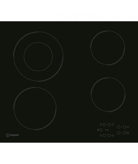 INDESIT RI260C - Table de cuisson vitrocéramique - 4 zones - 6200 W - L 58 x P 51 cm - Revetement verre - Noir