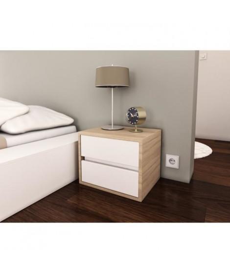 POP Chevet 40 cm - Blanc mat et décor chene sonoma