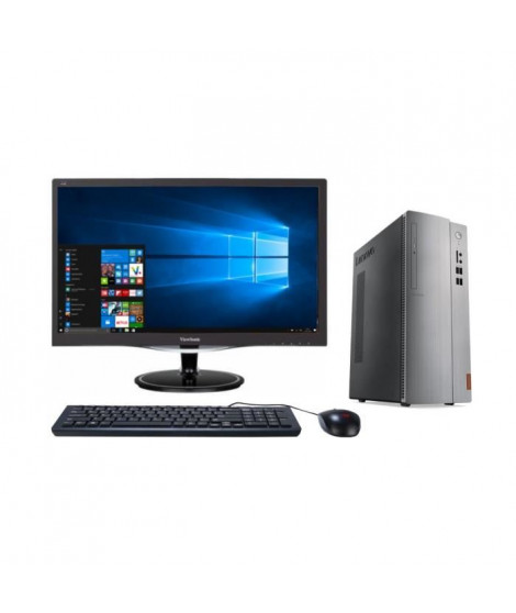 LENOVO PC de bureau Ideacentre 510S-08IKL -RAM 4Go -Core I5-7400- Intel HD Graphics - Stockage 1To -Windows 10 + Ecran LED 24…