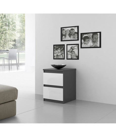 FINLANDEK Chevet NATTI 42cm gris et blanc