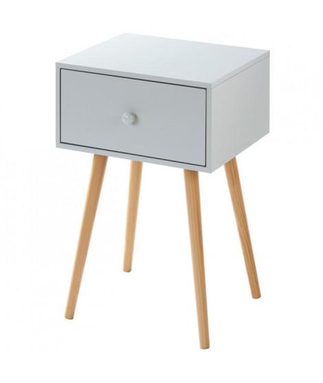 HORTENSE Table de chevet scandinave en MDF laqué satiné gris clair avec pieds bois massif - L 40 cm