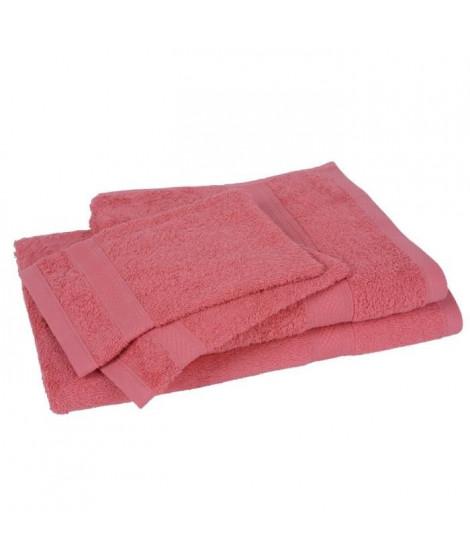 Lot de 1 drap de bain + 1 serviette + 2 gants ELEGANCE corail