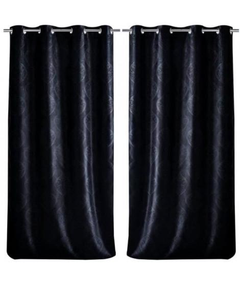 Paire de double rideaux occultant a motif baroque 140x260cm noir