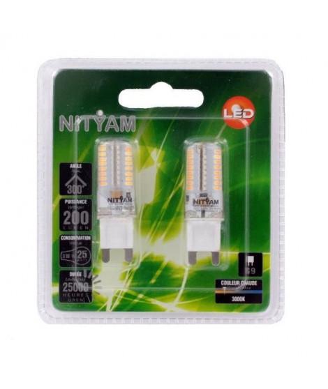 NITYAM Pack de 2 capsules Led G9 3W équivalent a 25W