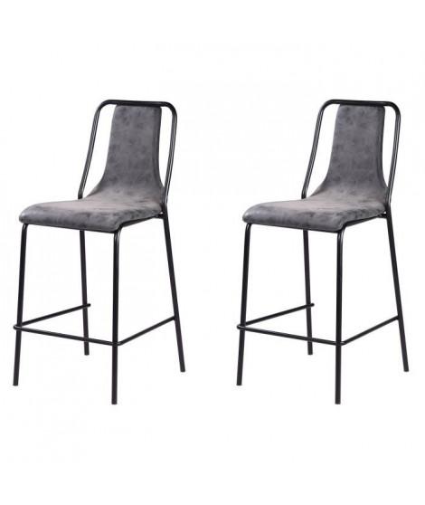 Lot de 2 tabourets de bar pieds en métal noir - Revetement simili PU gris anthracite - Industriel - L 40 x P 50 cm