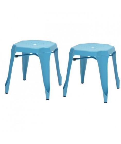 KRAFT Amy Lot de 2 tabourets - Métal bleu satiné - Style industriel - L 42 x P 42 cm - Assise H 44cm