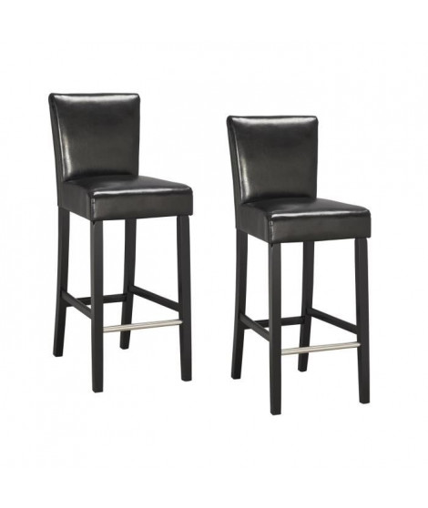 ELVIS Lot de 2 chaises de bar noires