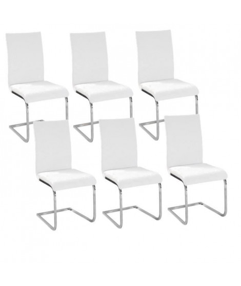 LEA Lot de 6 Chaises de salle a manger blanches