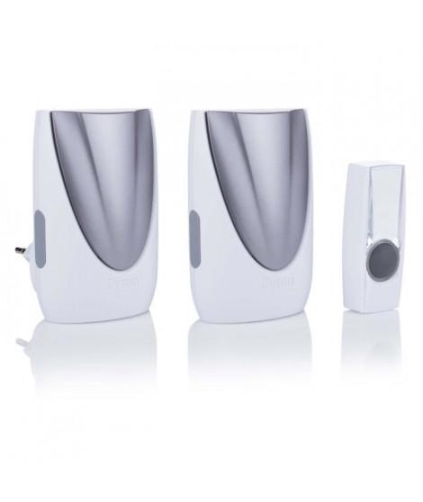 BYRON Kit de 2 carillons portable et a brancher avec bouton sans fil portée 125 m BY236E