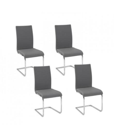 LEA Lot de 4 chaises de salle a manger grises