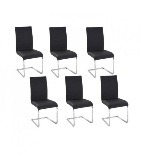 LEA Lot de 6 Chaises de salle a manger noires