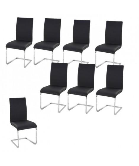 LEA Lot de 8 Chaises de salle a manger noires
