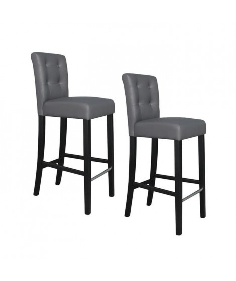 ELVIS Lot de 2 tabourets de bar en simili - Gris