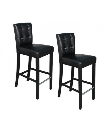ELVIS Lot de 2 tabourets de bar en simili - Noir
