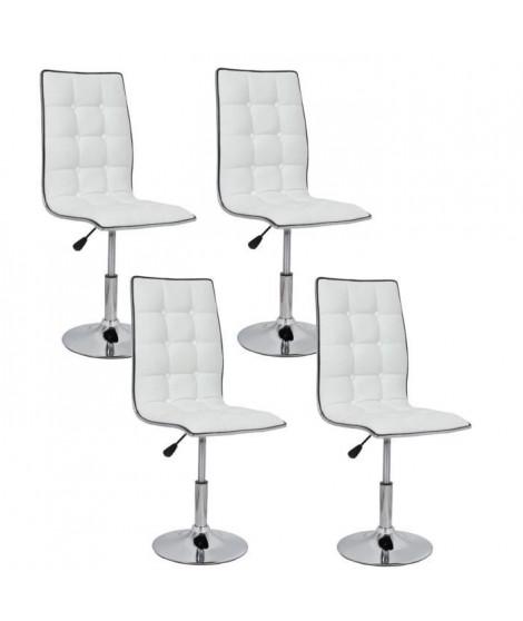 LEAF Lot de 4 chaises de salle a manger blanches
