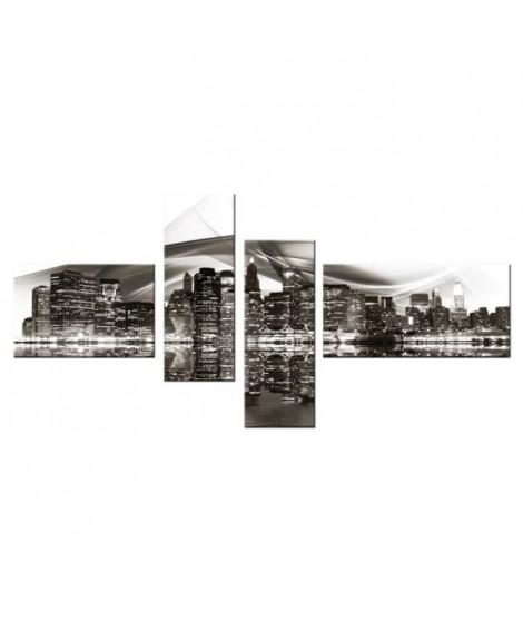 FINLANDEK Tableau multi panneau Urbain Oulu 140x70 cm noir et blanc