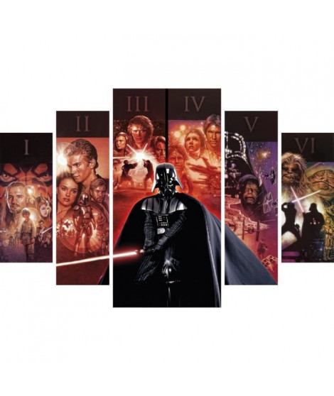 STAR WARS Set de 5 toiles imprimées Groupe 150x100 cm rouge