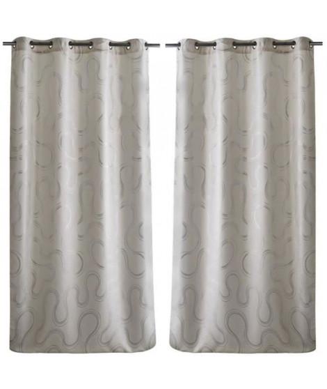Paire de double rideaux occultant motif sinueux 140x260cm blanc
