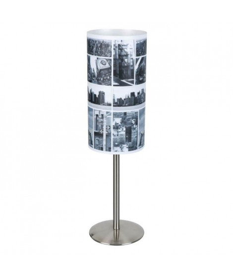 COREP Lampe a poser métal Street E14 40W noir et blanc