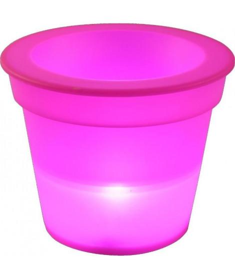 HOMEA Pot Lumineux En Plastique A Piles + 1Led O16*H13Cm Fuchsia