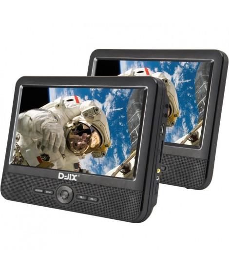 """D-JIX PVS 706-50SM Lecteur DVD portable 7"""" Double écran + Supports appui-tete"""