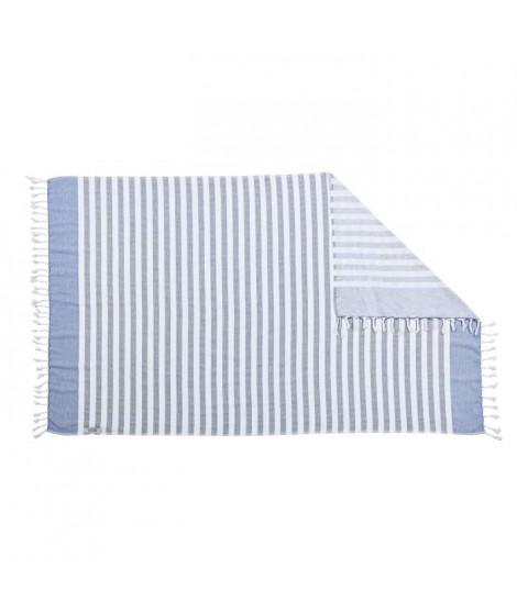DONE Serviette Hammam Cairo - Gris & bleu - 90x160cm - 100% Coton - 300gr/m²