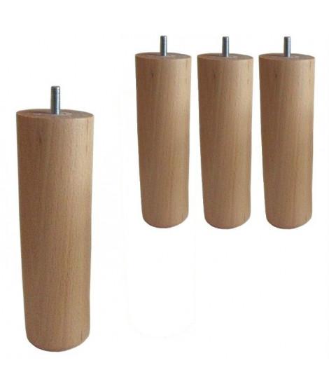 4 Pieds Cylindriques Verni naturel H 20cm